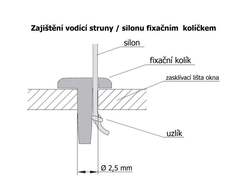 Bílý kolíček k zajištění vodící silonové struny horizontálních žaluzií