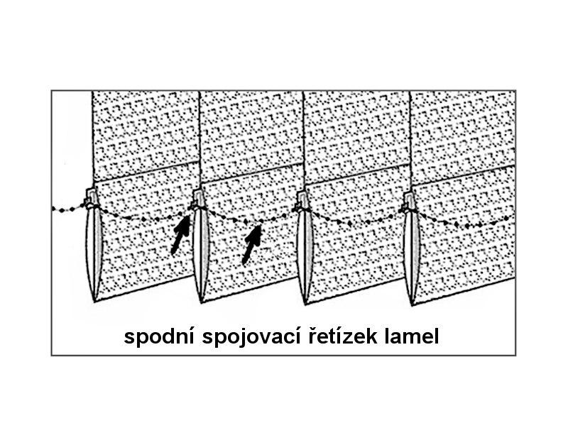 Spodní spojovací řetízek závaží lamel vertikální žaluzie